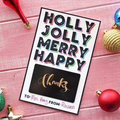 FREE Modern Christmas Gift Card Holder Printable!
