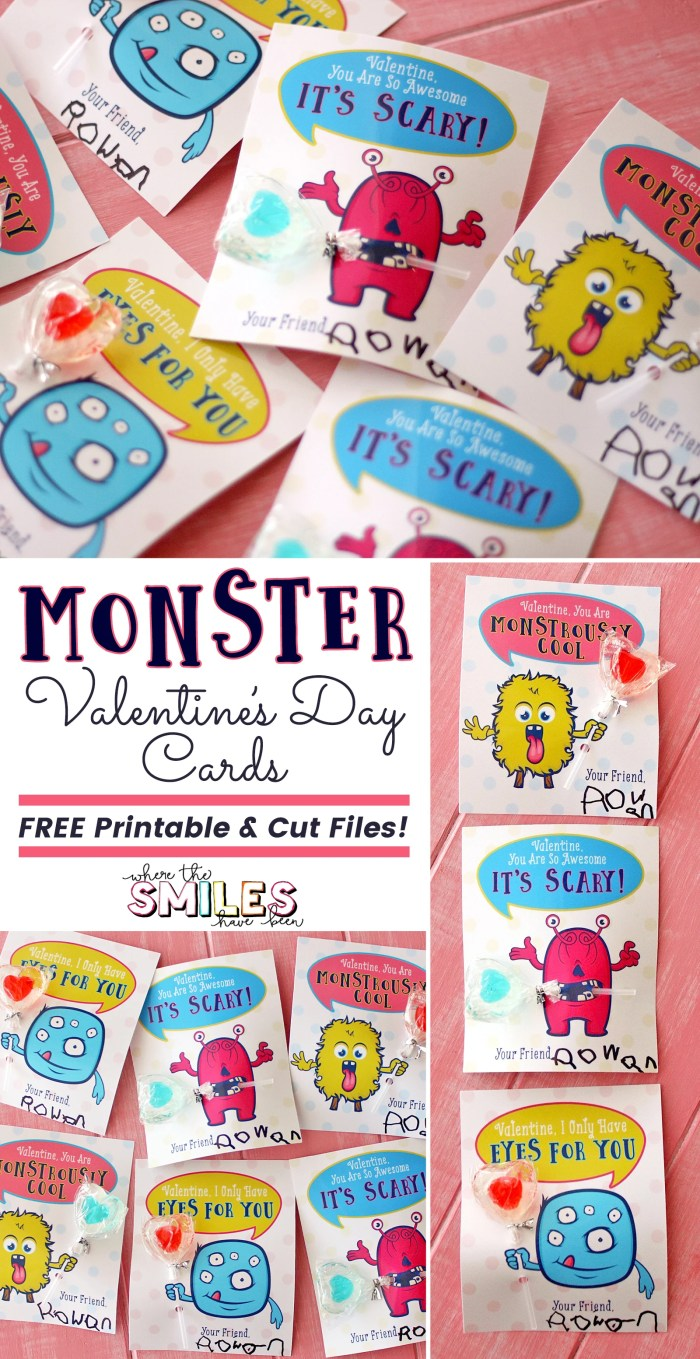 Monster Valentine's Day Cards + FREE Printable & Cut Files! Where The Smiles Have Been #ValentinesDay #monster #freecutfile #Silhouette #Cricut