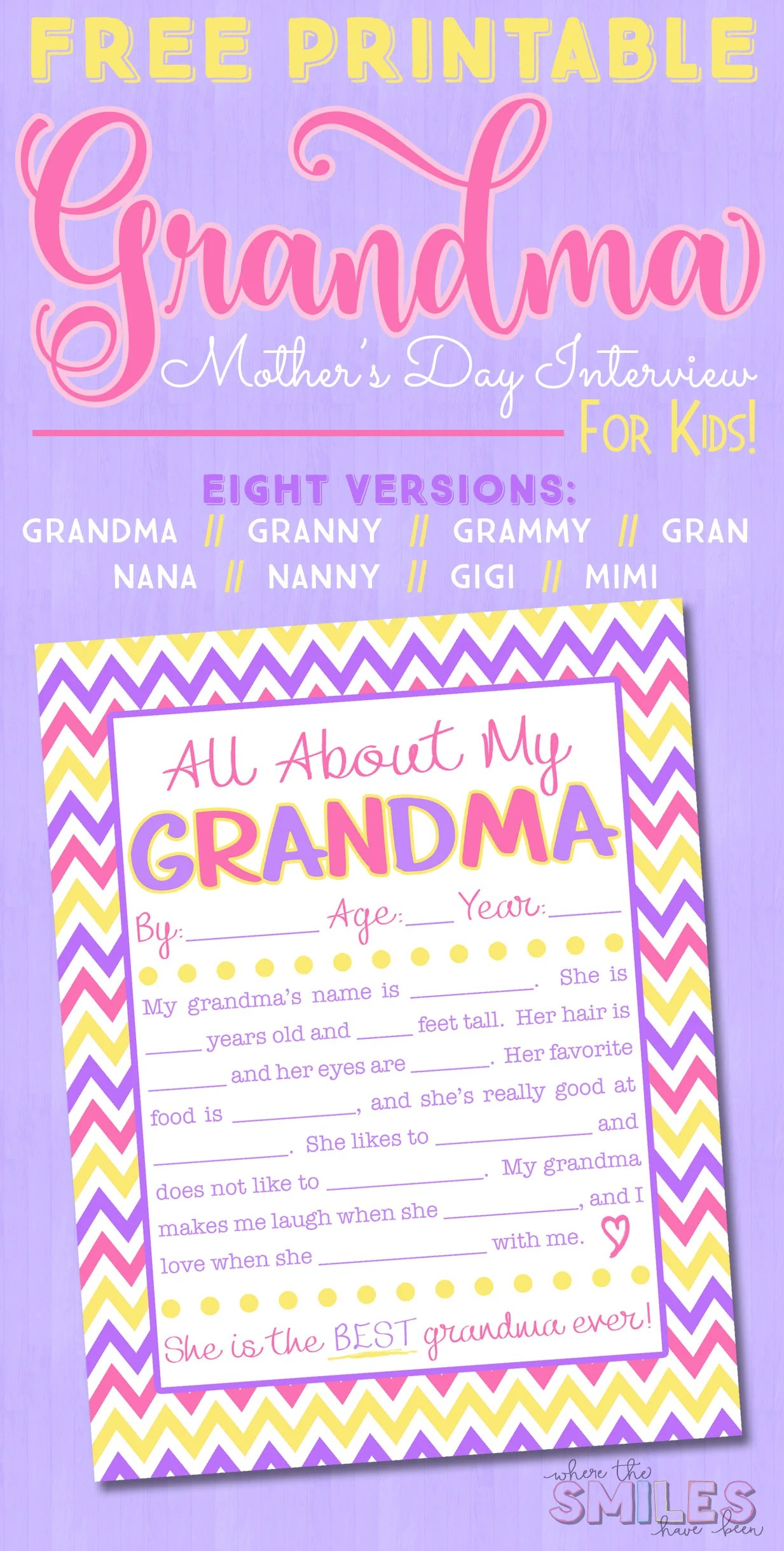 All About My Grandma Interview With FREE Printable {EIGHT Versions} | Where  The Smiles