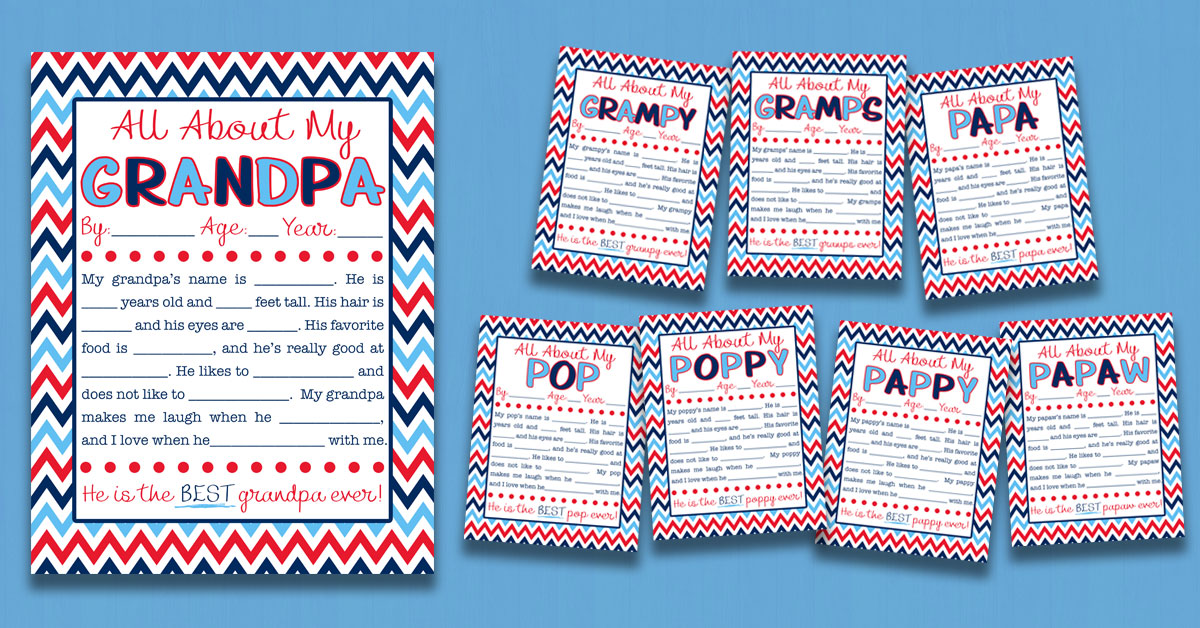 all about my grandpa interview with free printable eight versions