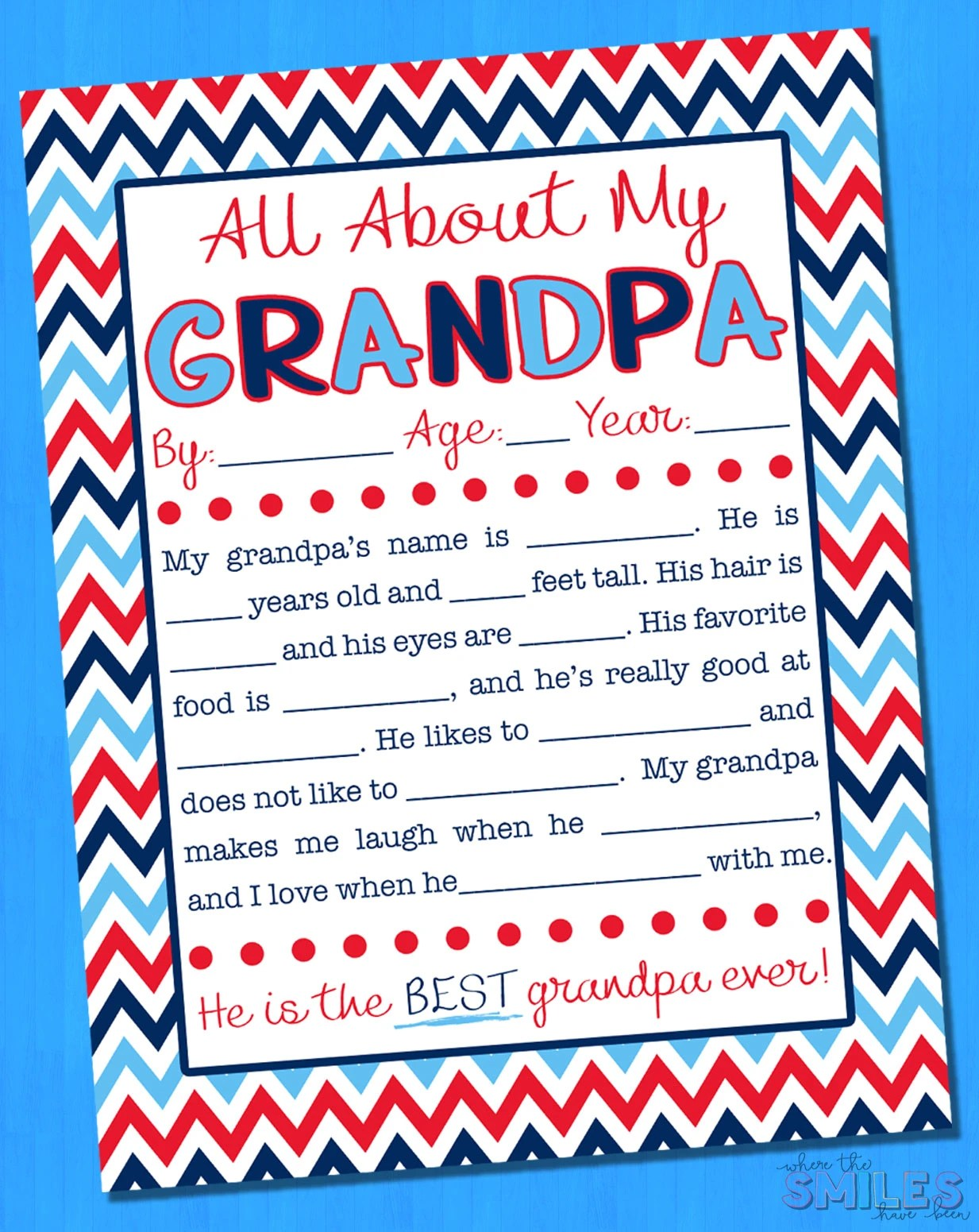 photo about Grandpa Questionnaire Printable titled All Over My Grandpa Job interview with Free of charge Printable 8