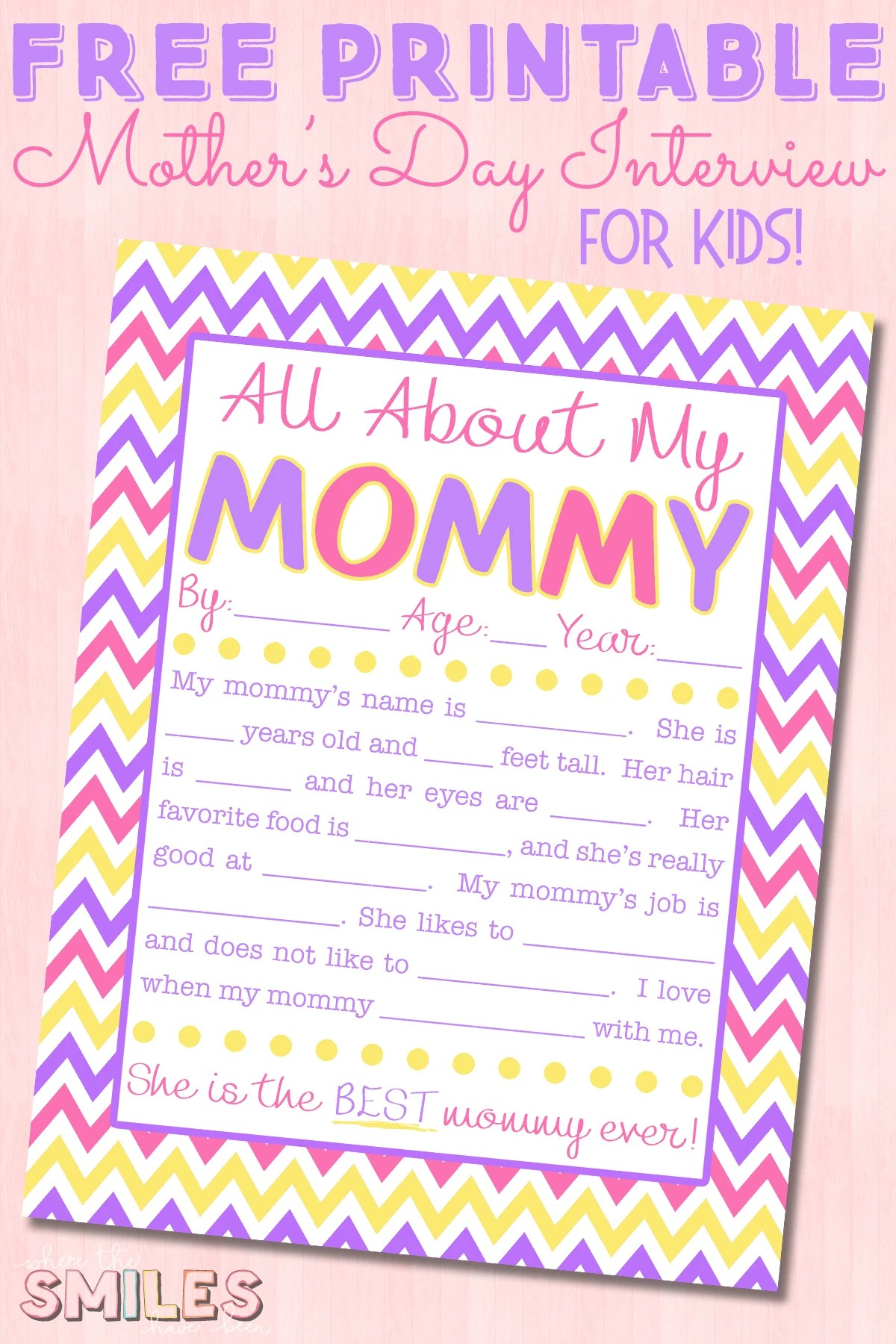 photo about All About My Mom Printable identify All Over My Mommy Job interview with Cost-free Printable!