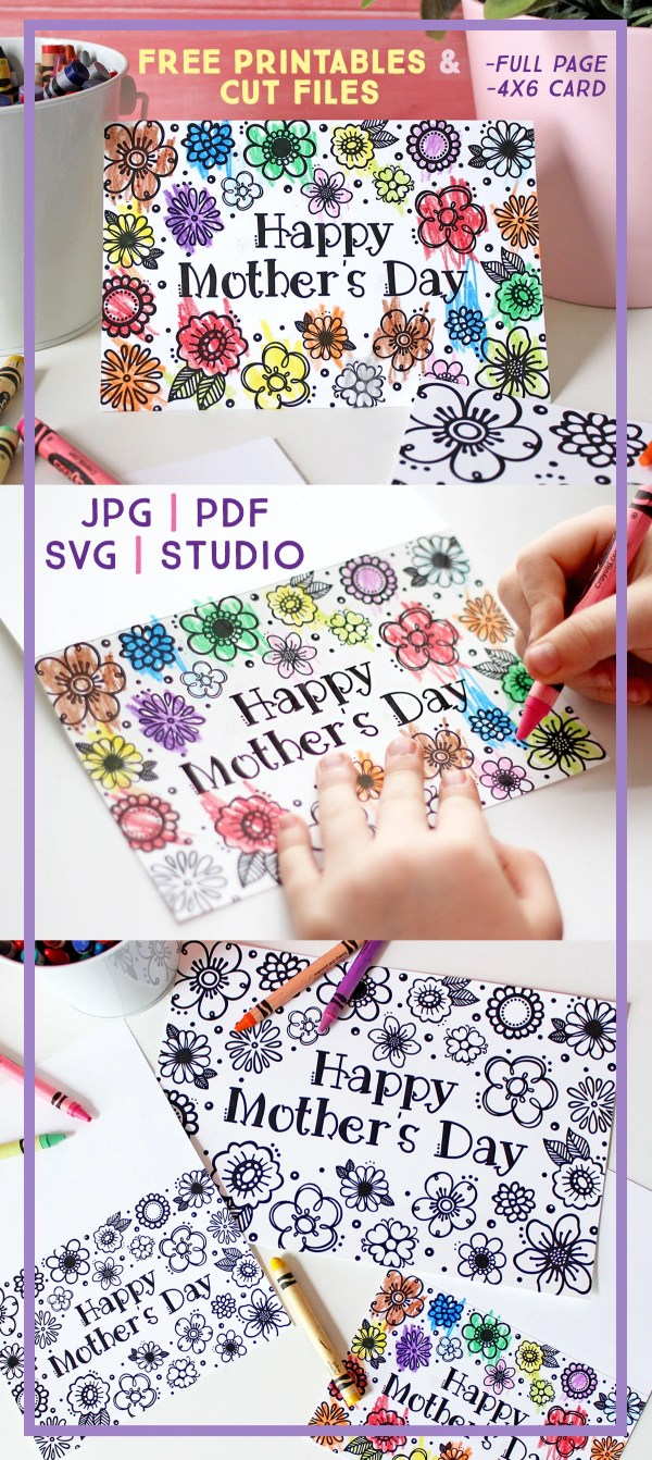 free printable mothers day coloring page card cut files too