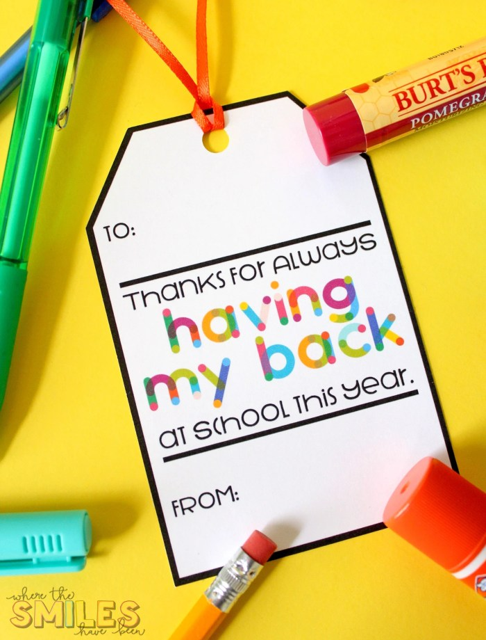 Free Printable Teacher Gift Tag: Thanks for Having My Back...Pack with Supplies! | Where The Smiles Have Been #teachergift #teacherappreciation #freebie #freeprintable #freecutfile