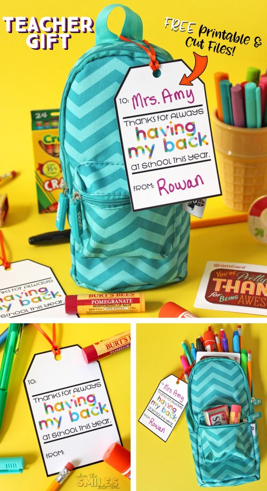 Free Printable Teacher Gift Tag: Thanks for Having My Back...Pack with Supplies!   Where The Smiles Have Been #teachergift #teacherappreciation #freebie #freeprintable #freecutfile