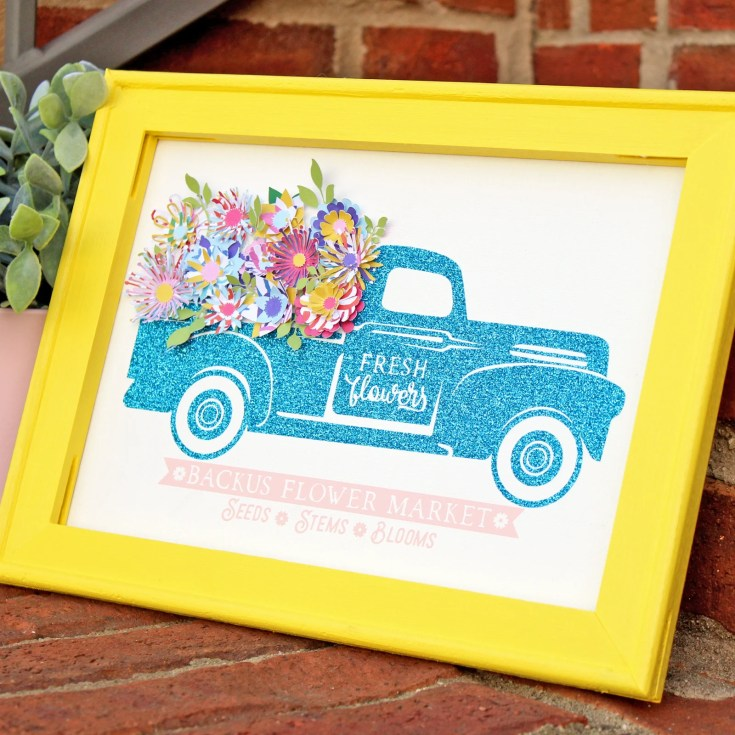 Glittery Flower Truck Reverse Canvas Sign with Colorful Mini Paper Flowers