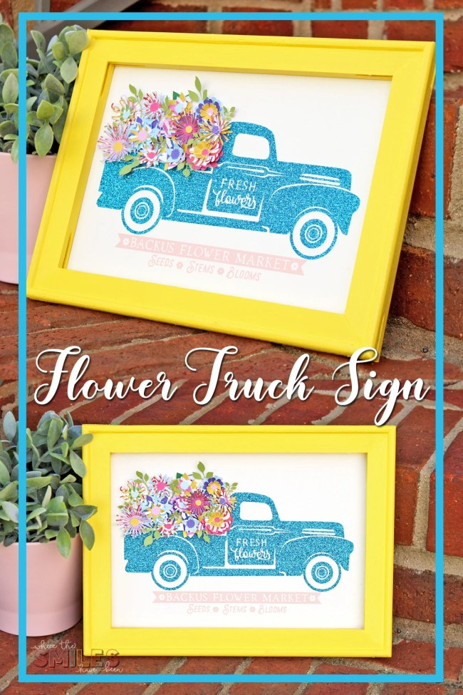Glittery Flower Truck Sign with Colorful Mini Paper Flowers   Where The Smiles Have Been #flowertruck #reversecanvas #Silhouette #Cricut #HTV #vinyl #paperflowers