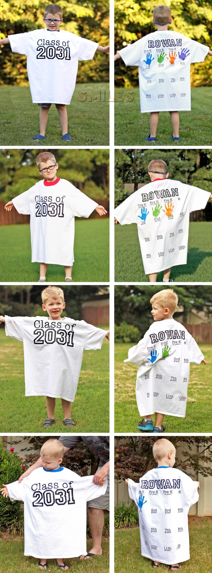 Rowan's Back-to-School Shirt with Handprints: Kindergarten Update! | Where The Smiles Have Been #backtoschool #firstdayofschool #photoprop #keepsake #graduation #school