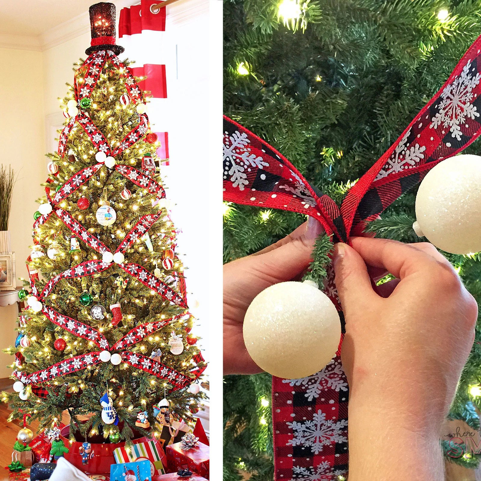 How To Crisscross Ribbon On A Christmas Tree For A Unique Look