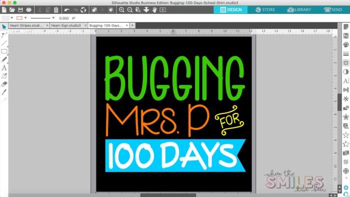 100 Days of School Shirt Idea: 'Bugging' My Teacher | Where The Smiles Have Been #school #100Days #100DaysOfSchool #100thDayOfSchool #schoolshirt #bugs #insects #HTV #HeatTransferVinyl #Silhouette #Cricut #CricutEasyPress