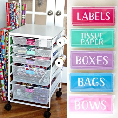 Gift Wrap Organizer Cart with DIY Drawer Labels | Where The Smiles Have Been #organization #giftwrap #giftwraporganization #KonMari #homeorganization #wrappingpaper #ribbon #giftbag #ContainerStore #vinyl #labels #Silhouette #Cricut
