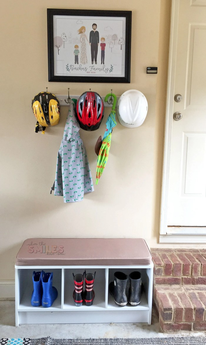 Garage Mini Mudroom Idea! | Where The Smiles Have Been #garage #mudroom #organization #garageorganization #familyportrait