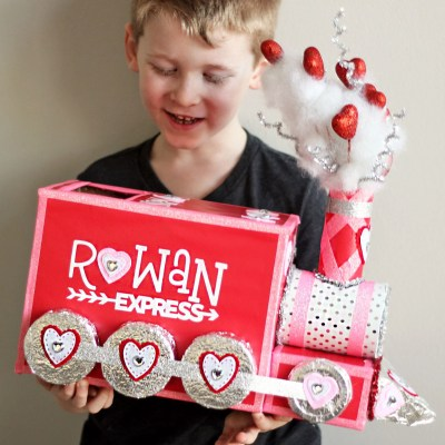 DIY Valentine Box: All Aboard the Love Train!   Where The Smiles Have Been #Valentine #ValentinesDay #ValentineBox #SchoolValentine #SchoolParty #LoveTrain #TrainValentine #UpcycleCraft