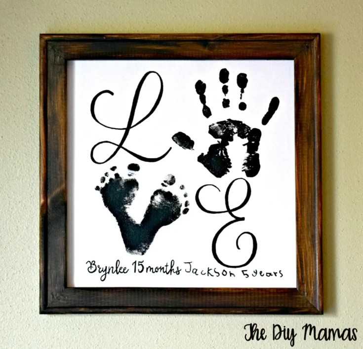 Baby Keepsake Reverse Canvas with Handprints & Footprints