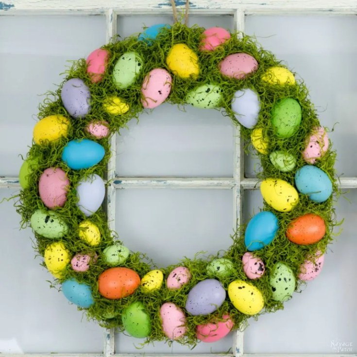 Colorful Moss & Spring Egg Wreath