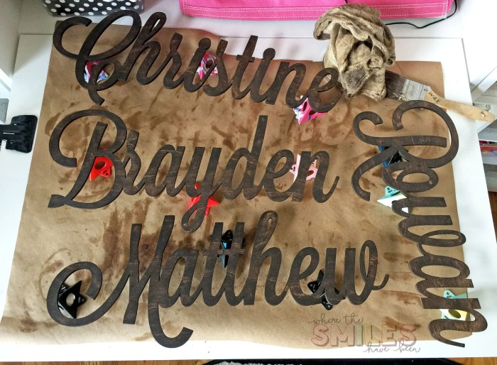 Personalized Wooden Names for a Board & Batten Hook Wall | Where The Smiles Have Been #boardandbatten #personalized #woodenname #namesign #CraftCuts #home #homedecor #mudroom #organization