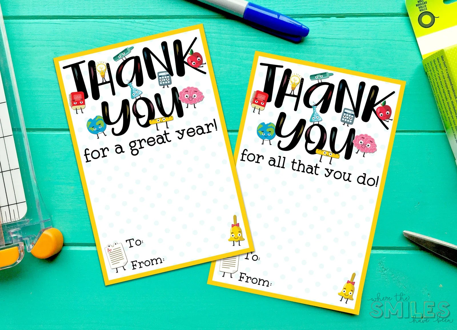 It is a graphic of Teacher Appreciation Printable Card pertaining to teacher last day school