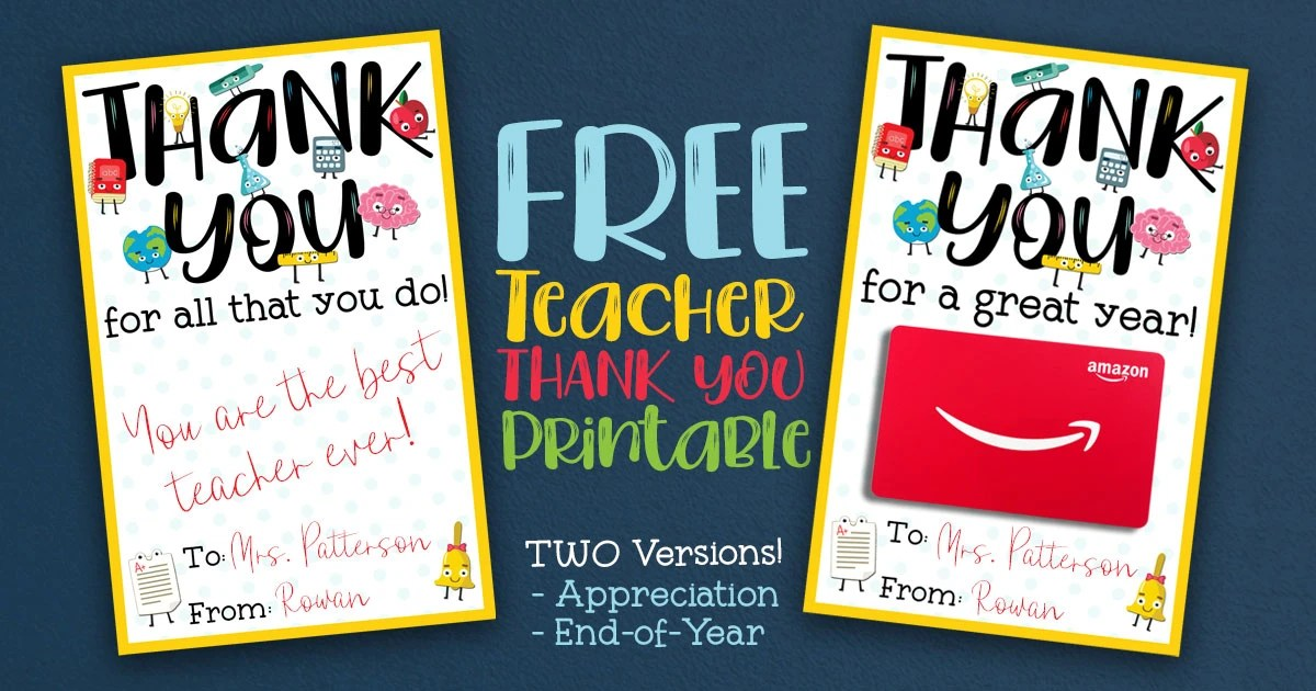 photo relating to Free Printable Teacher Appreciation Cards to Color named No cost Instructor Appreciation Thank On your own Printable - 2 Designs!