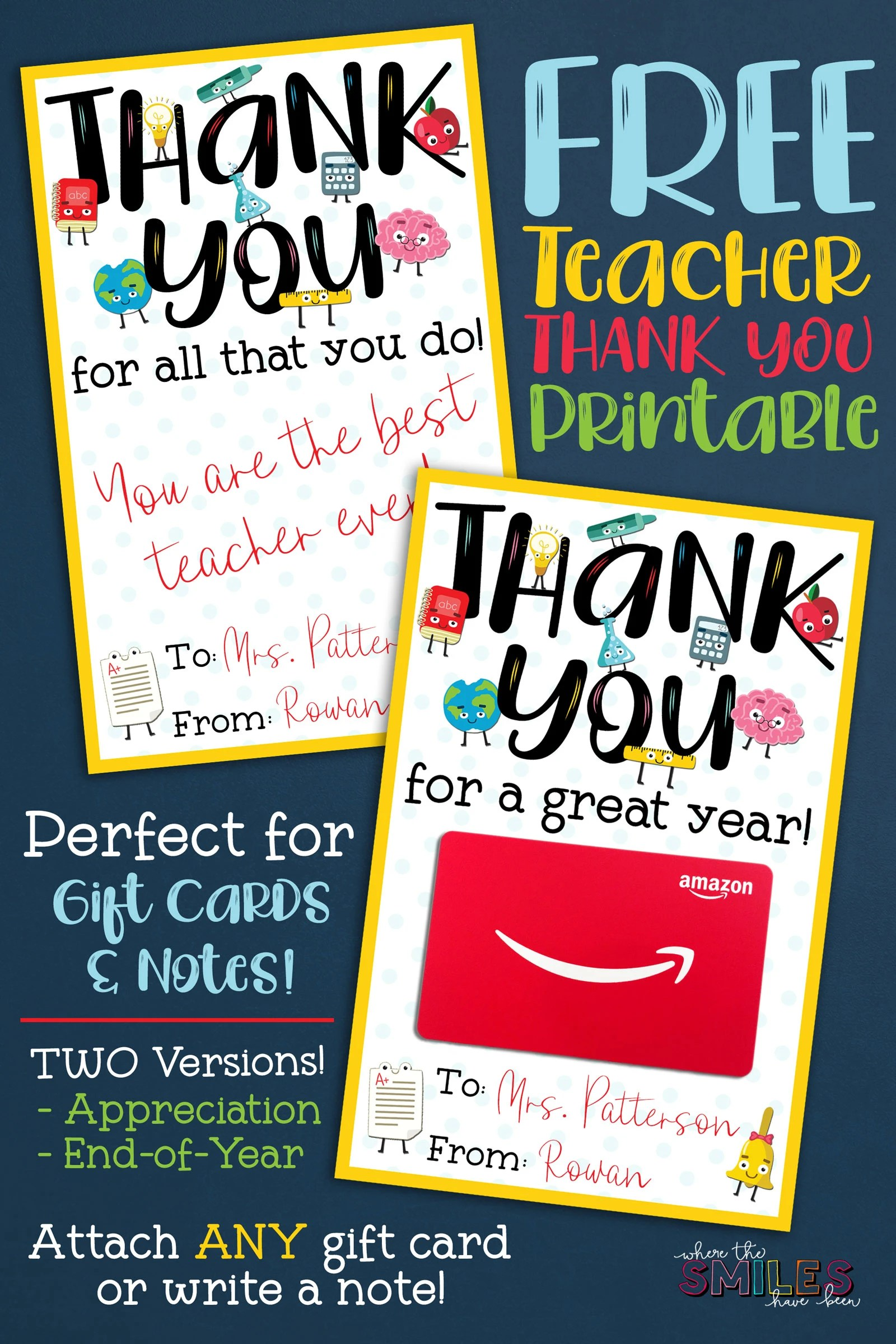 image relating to Teacher Appreciation Cards Printable identified as Free of charge Instructor Appreciation Thank By yourself Printable - 2 Styles!
