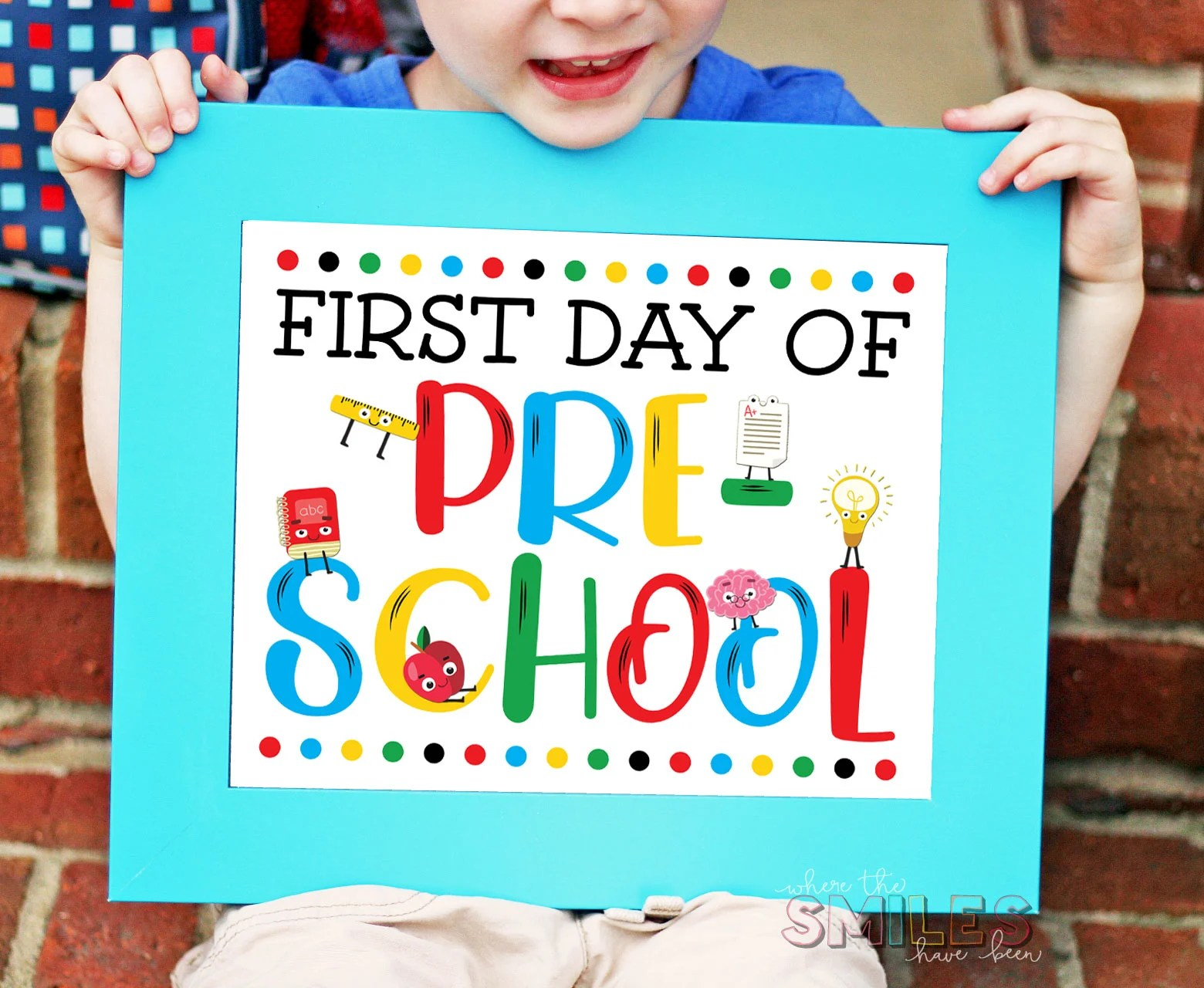 picture relating to First Day of Pre K Sign Printable known as Absolutely free Initially Working day of College or university Signal Printables - A few Colour Products!