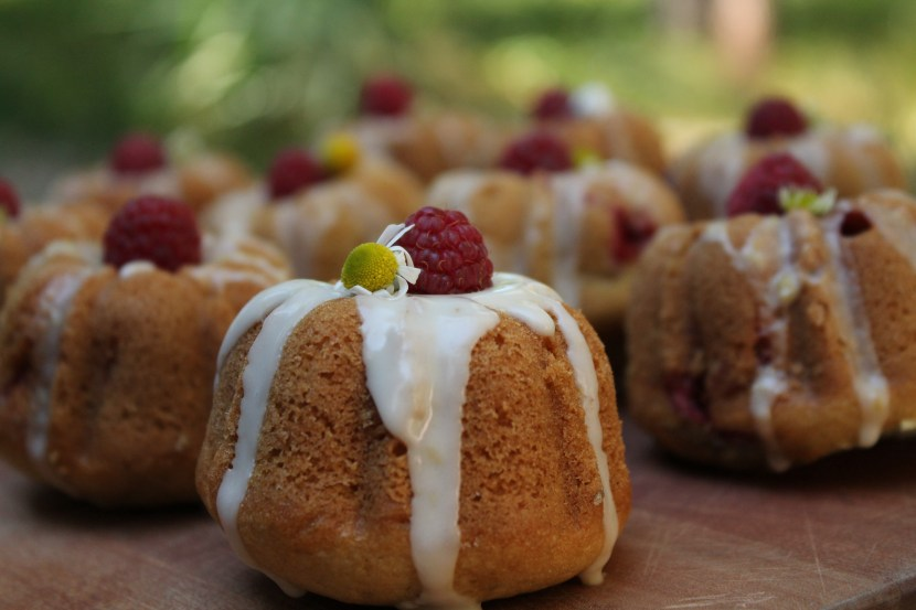 Raspberry Chamomile Teacakes