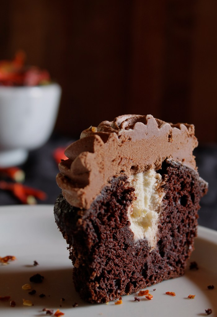 Chocolate Chili Cupcakes + Ginger Cream