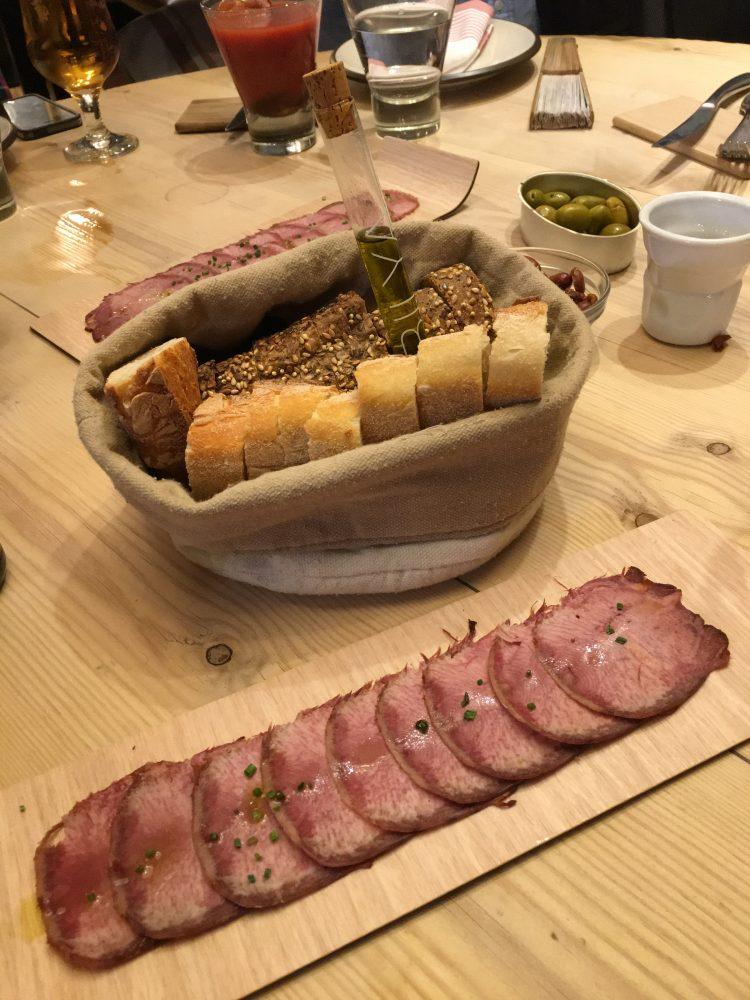La Tasquería de Javi Estevez Restaurant Madrid. Beef Tongue, Bread and Olive Oil. Appetizers.
