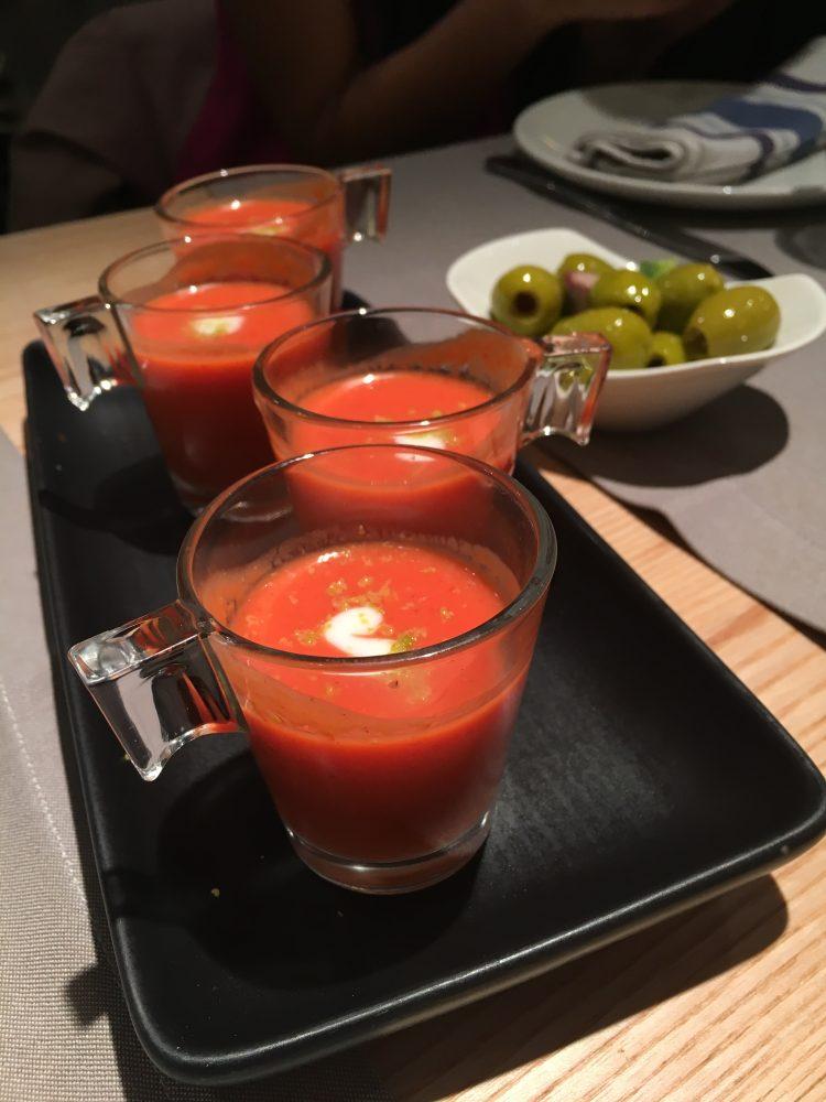 Restaurante Orgaz Madrid. Appetizer, Strawberry Gazpacho.