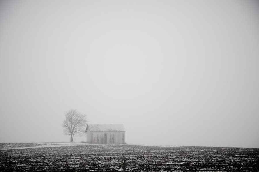 Barn in Fog Illinois William Woodward