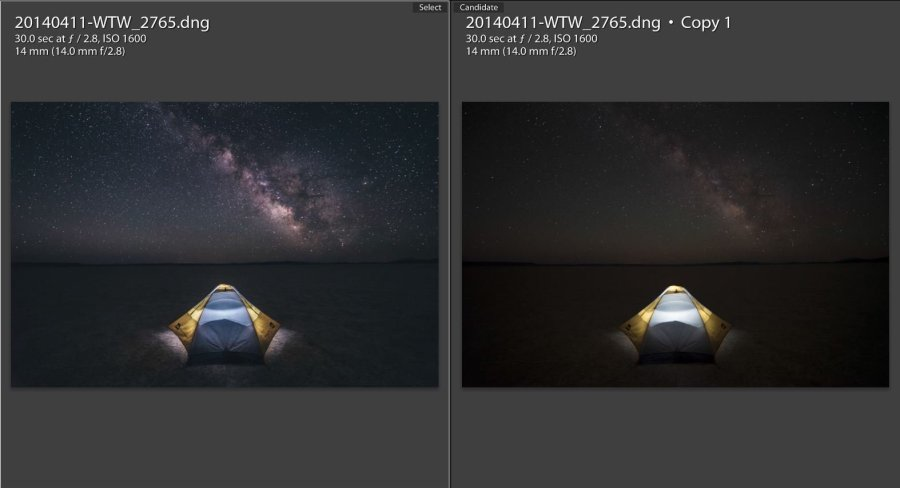 Star Photography Tutorial - Before and After Lightroom