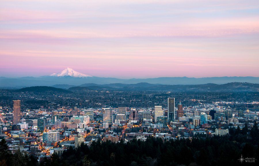 portland oregon city scape mt hood from pittock mansion william woodward