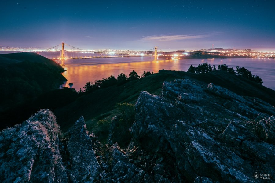 golden gate bridge rock at hawk hill san francisco william woodward