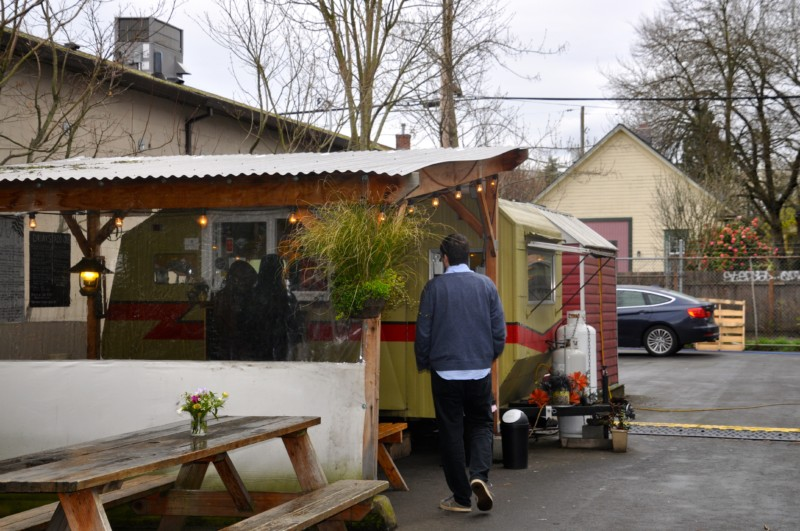 Food pods rather than trucks are popular in Portland.