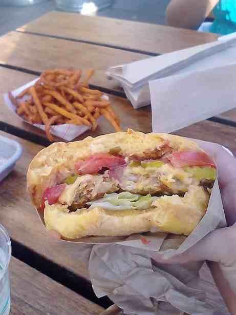 Veggie burger and sweet potato fries from Gott's Roadside
