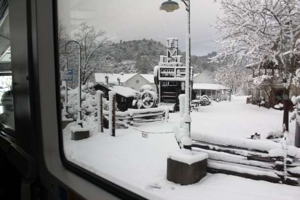 California town covered in snow