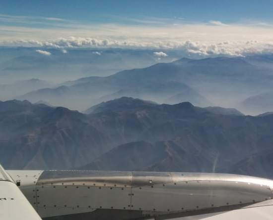 View of the Andes from plane to Cusco