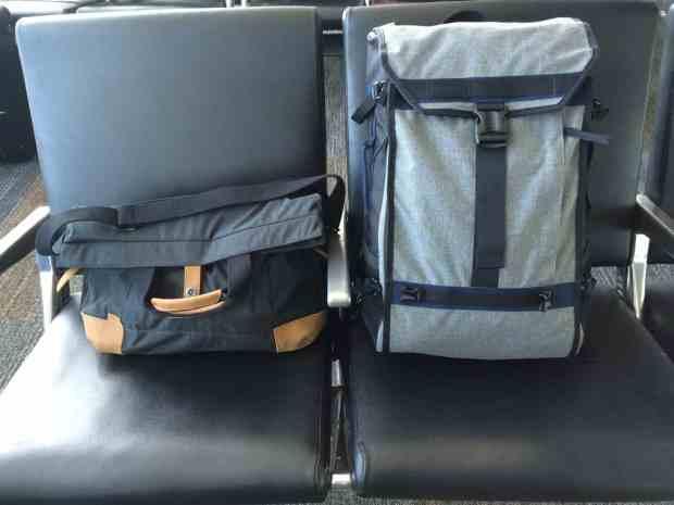 Timbuk2 Aviator backpack and Monterey messenger bag at airport