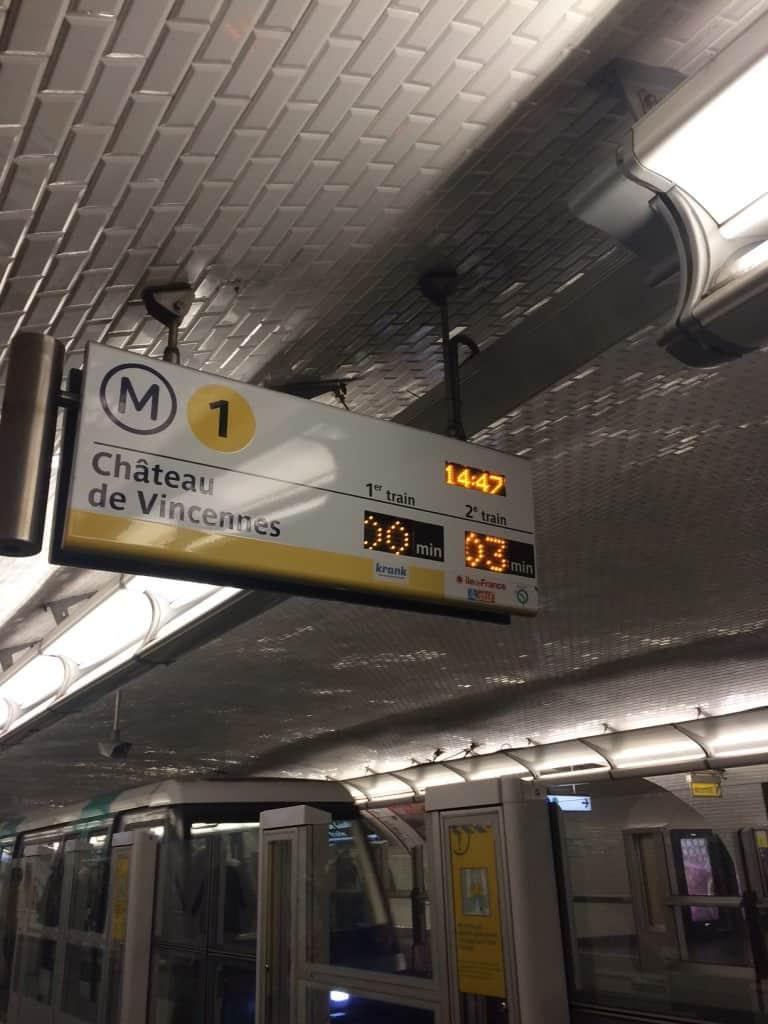Metro line 1 sign in Paris