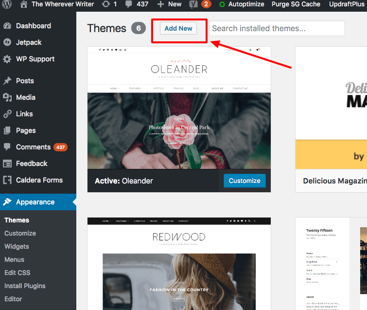 how to delete wordpress theme siteground