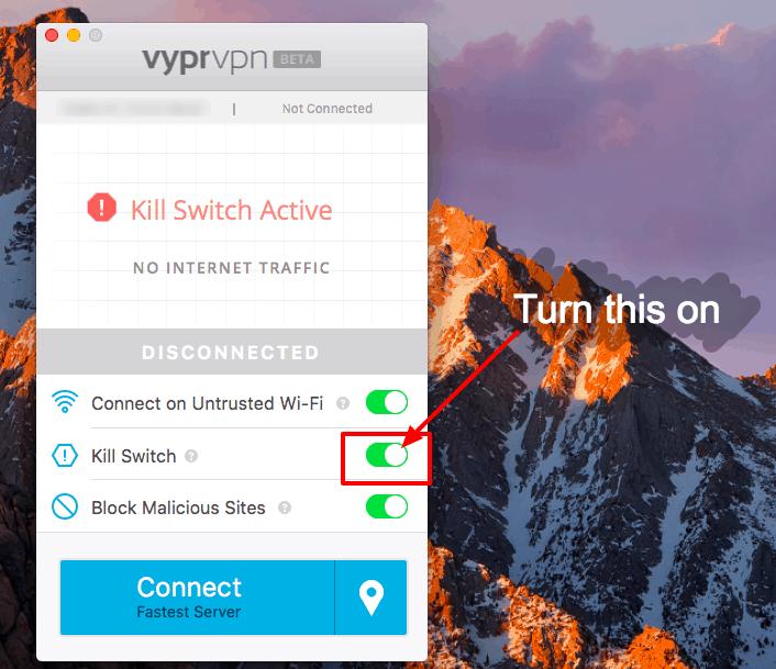 Best VPN for Travel - kill switch on VyprVPN