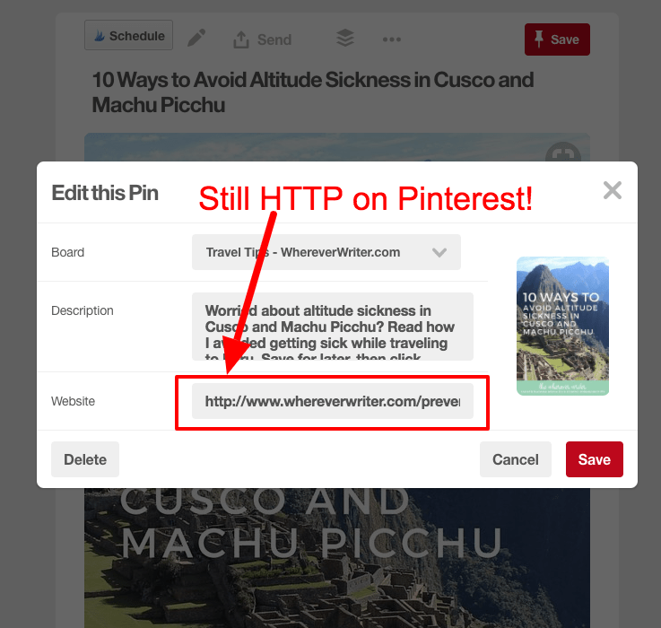 will switching to https hurt my traffic pinterest
