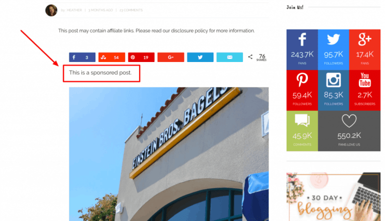 how to monetize a blog - sponsored post example