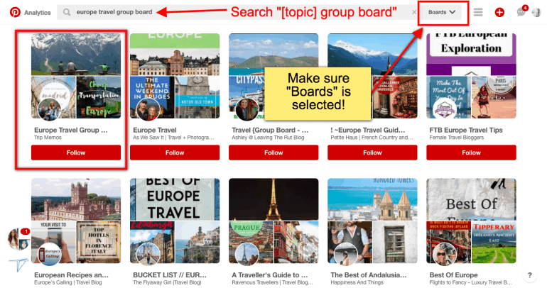 finding group boards on pinterest search