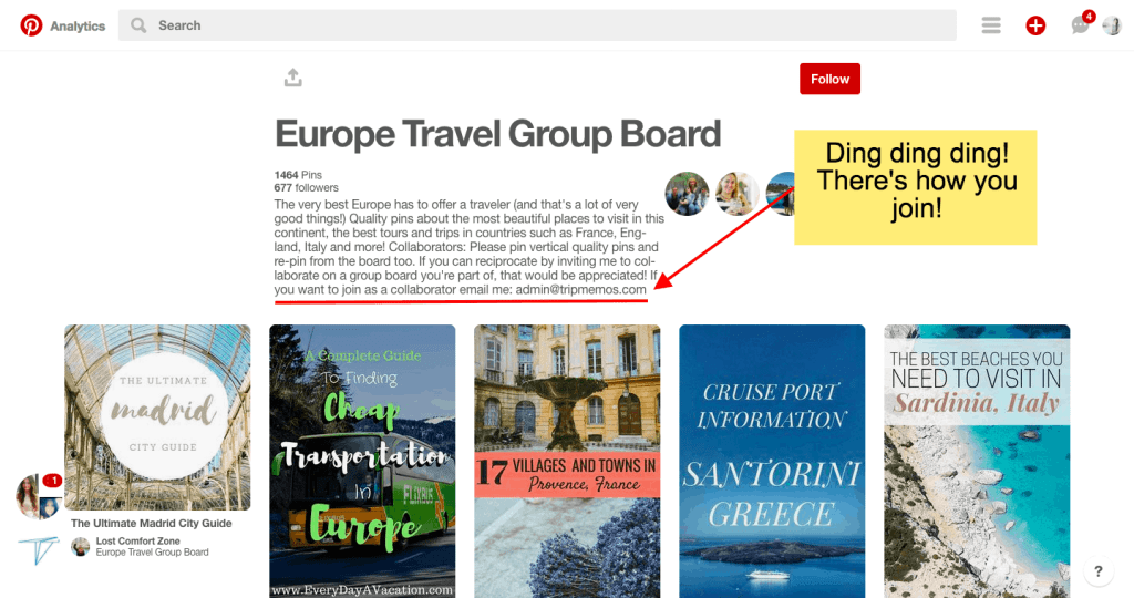 how to contact a pinterest group board owner