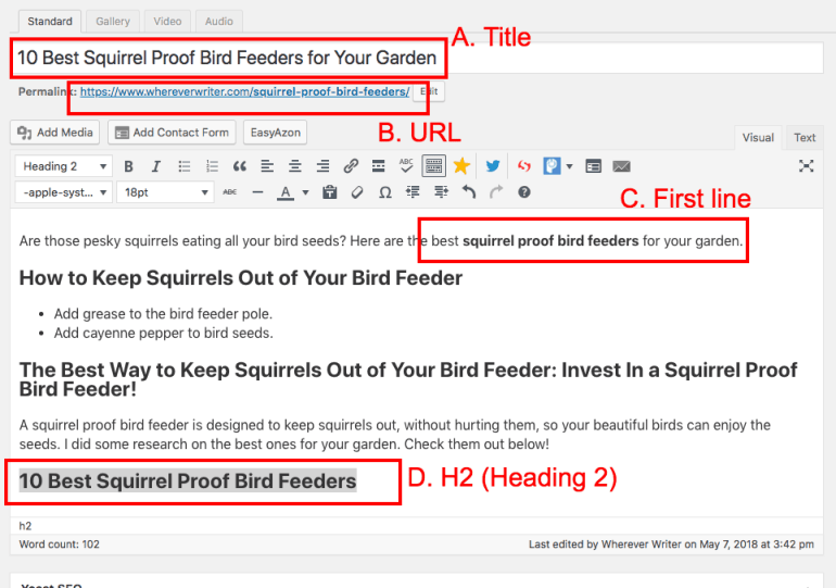 SEO for bloggers - where to put keywords in your blog post