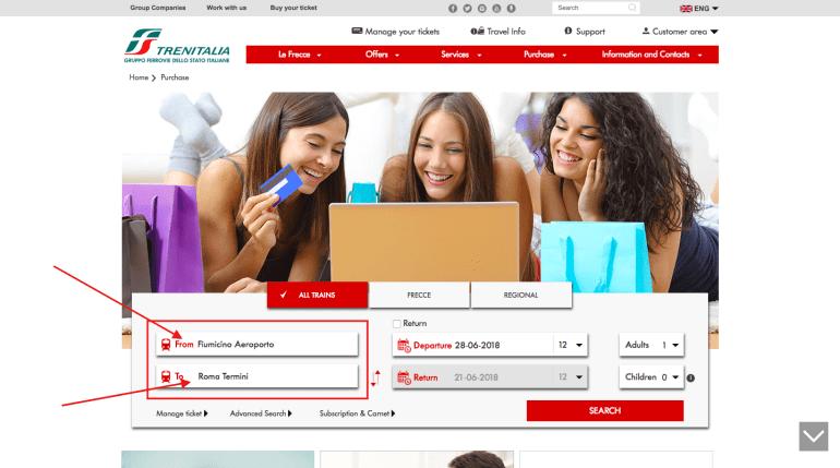 Buy leonardo express tickets online- step 1