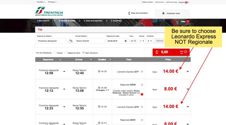 Buy leonardo express tickets online - step 3