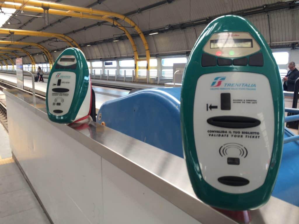 Leonardo Express Airport Train - Green ticket validator machines for Leonardo Express
