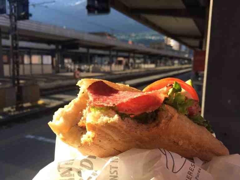 Train from Venice to Salzburg - Best salami sandwich