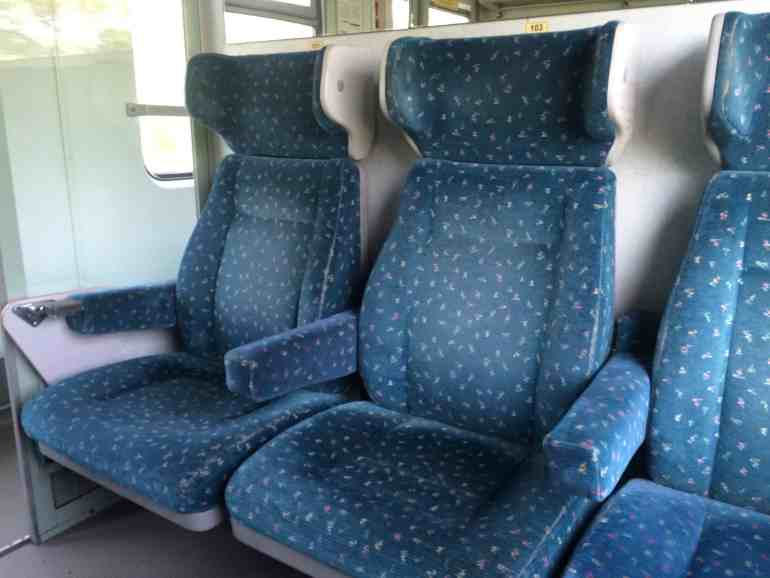 Train from Vienna to Budapest - Closeup of seats inside compartment